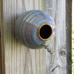 Pottery Birdhouse  bottle for wrens finches and chickadees  In Opal Glaze** Ready to ship!!