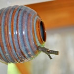 Pottery Birdhouse for Wrens, Finches, and Chickadees in Opal