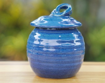 Pottery Sugar Bowl/Honey Jar in  Deep Blue glaze