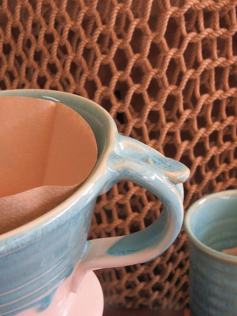 Pottery Pour Over Coffee Dripper in Turquoise Glaze image 0