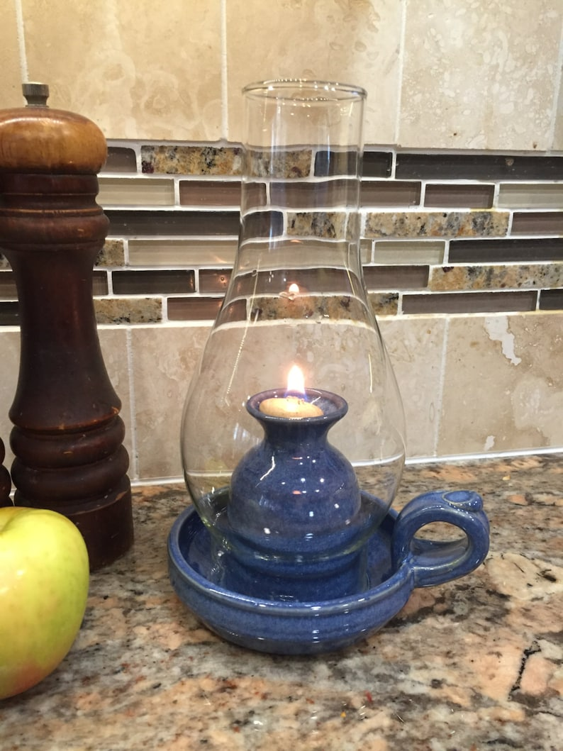 Pottery Oil Lamp in Deep Blue image 0