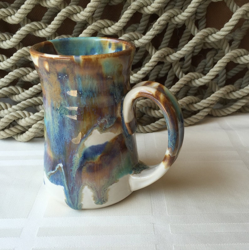 Pottery Mug in Tricolor Glaze 10 ounce image 0