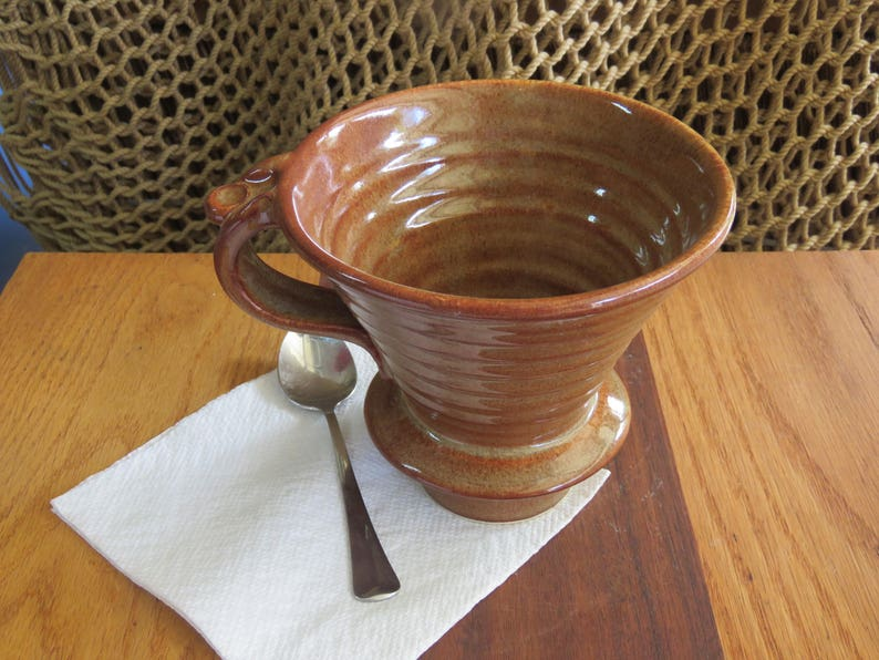 Pottery Pour Over Coffee Dripper and 16 ounce Mug in Copper image 0