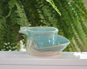 Pottery Soup and Cracker Bowl in Turquoise**READY TO SHIP