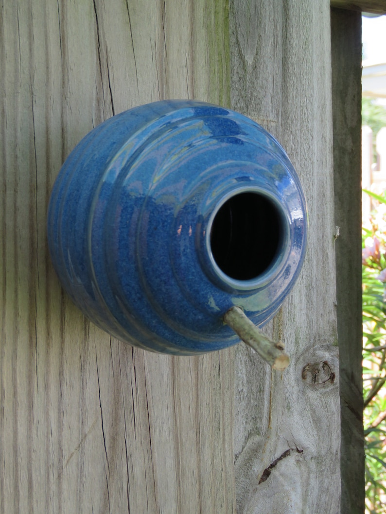 Pottery Birdhouse  bottle for wrens finches and chickadees  In image 0