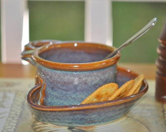 Soup and Cracker Bowl in Opal Glaze**READY TO SHIP