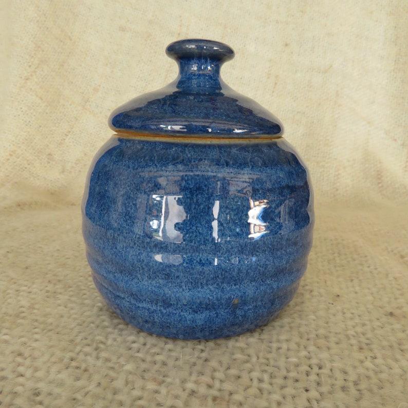 Pottery Sugar Bowl/Honey Jar in  Blue glaze image 0