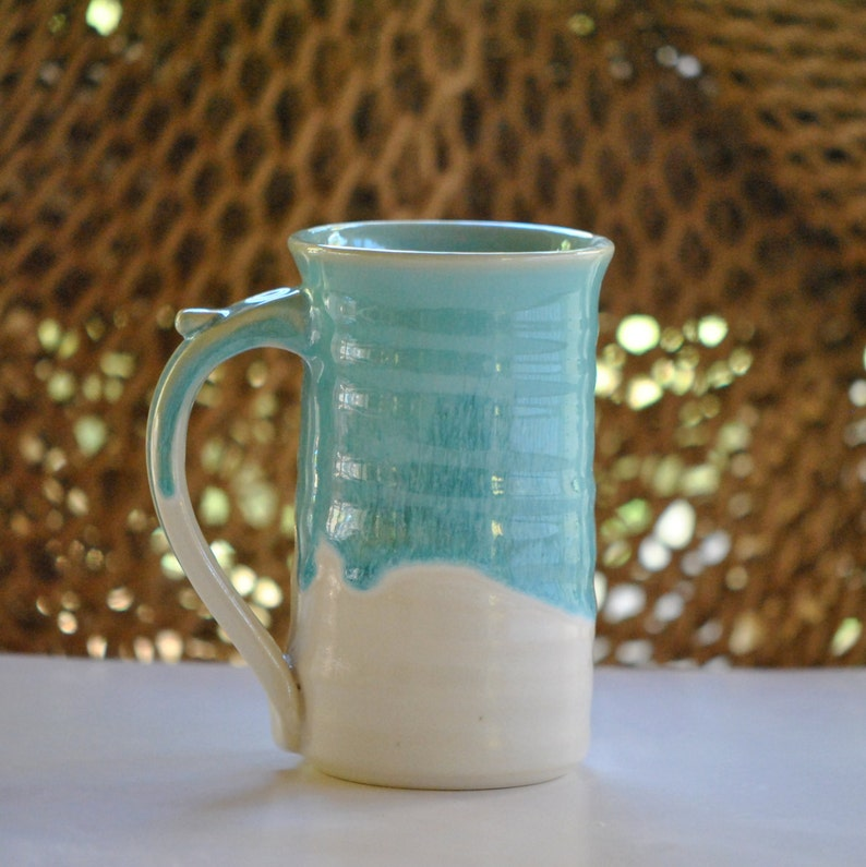 Large 16 ounce Stoneware Coffee Mug in Turquoise image 0
