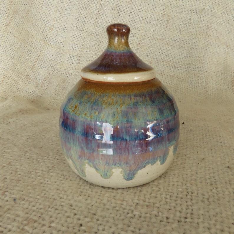 Pottery Sugar Bowl/Honey Jar in  Brown glaze image 0