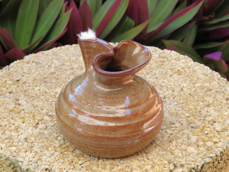 Pottery Oil Candle  Copper Glaze image 0