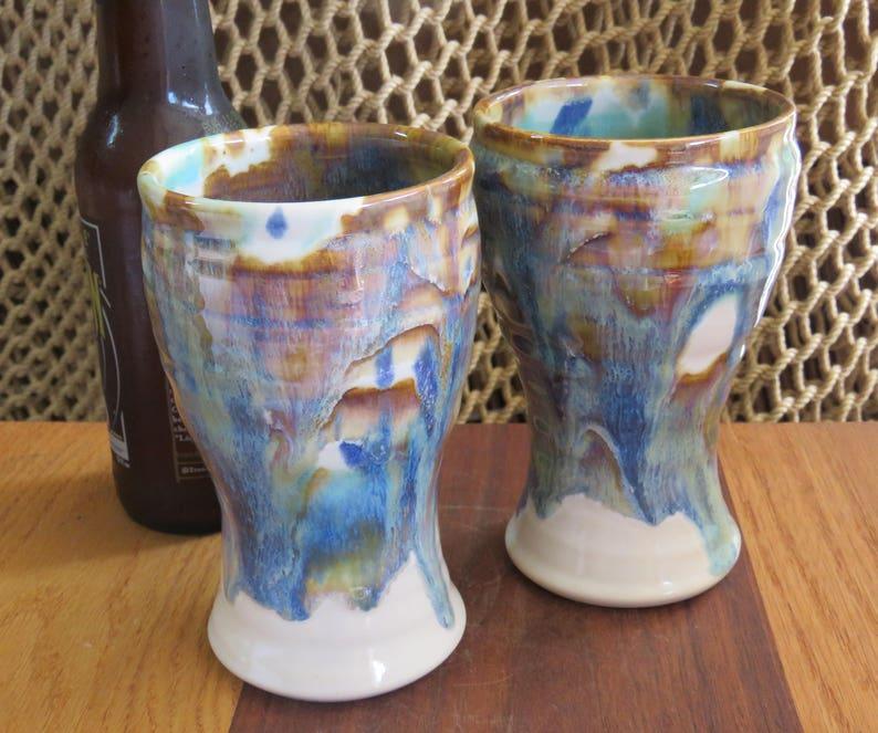 Pottery Beer Mug Tumbler in Tri Color Glaze image 0