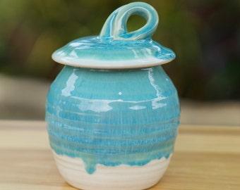 Pottery Sugar Bowl/Honey Jar in  Turquoise glaze