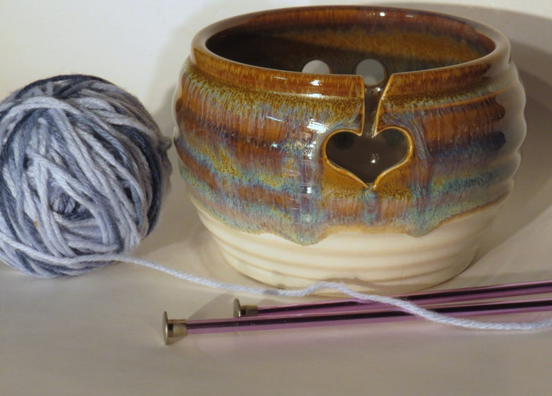 Yarn Bowl for knitting in Brown Wheel Thrown Pottery image 0