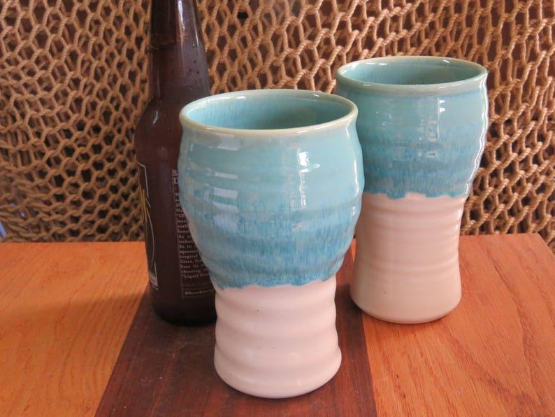Pottery Beer Mug Tumbler in Turquooise Glaze image 0