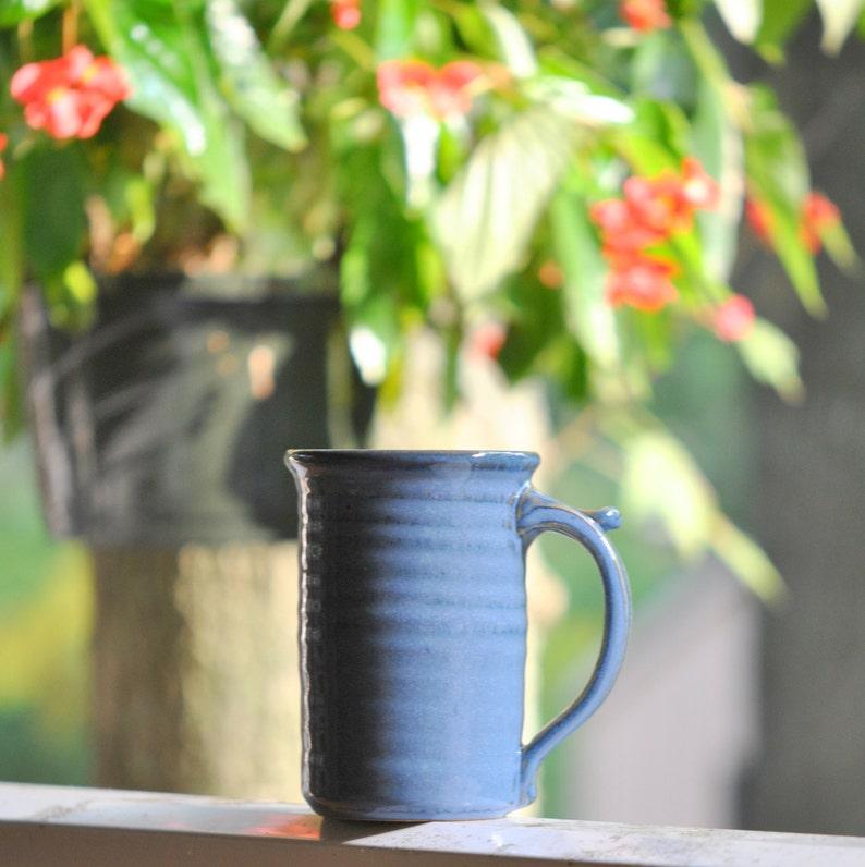 Pottery  Coffee Mug in Deep Blue Glaze  Stoneware 16 oz large image 0