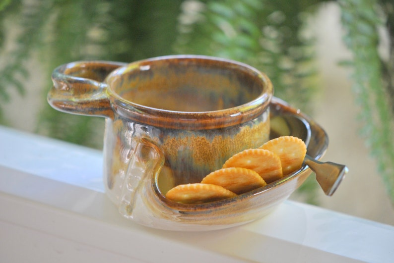 Soup and Cracker Bowl in Brown Glaze image 0