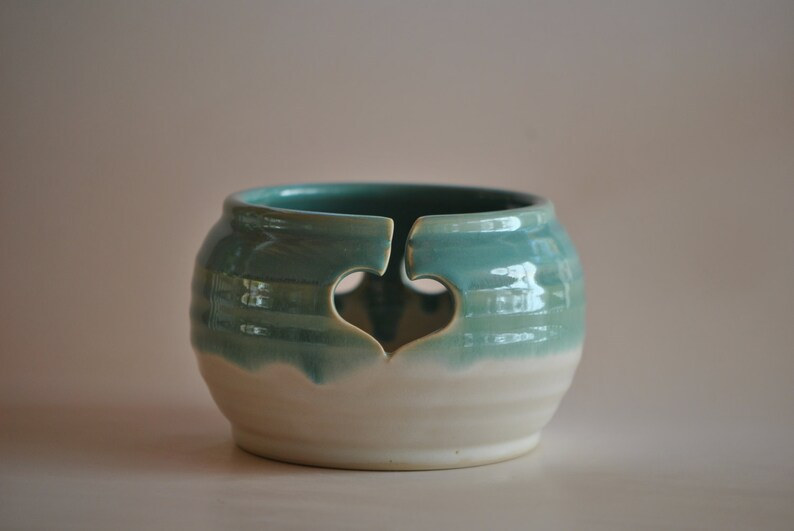 Pottery Yarn Bowl for Knitting in Turquoise image 0