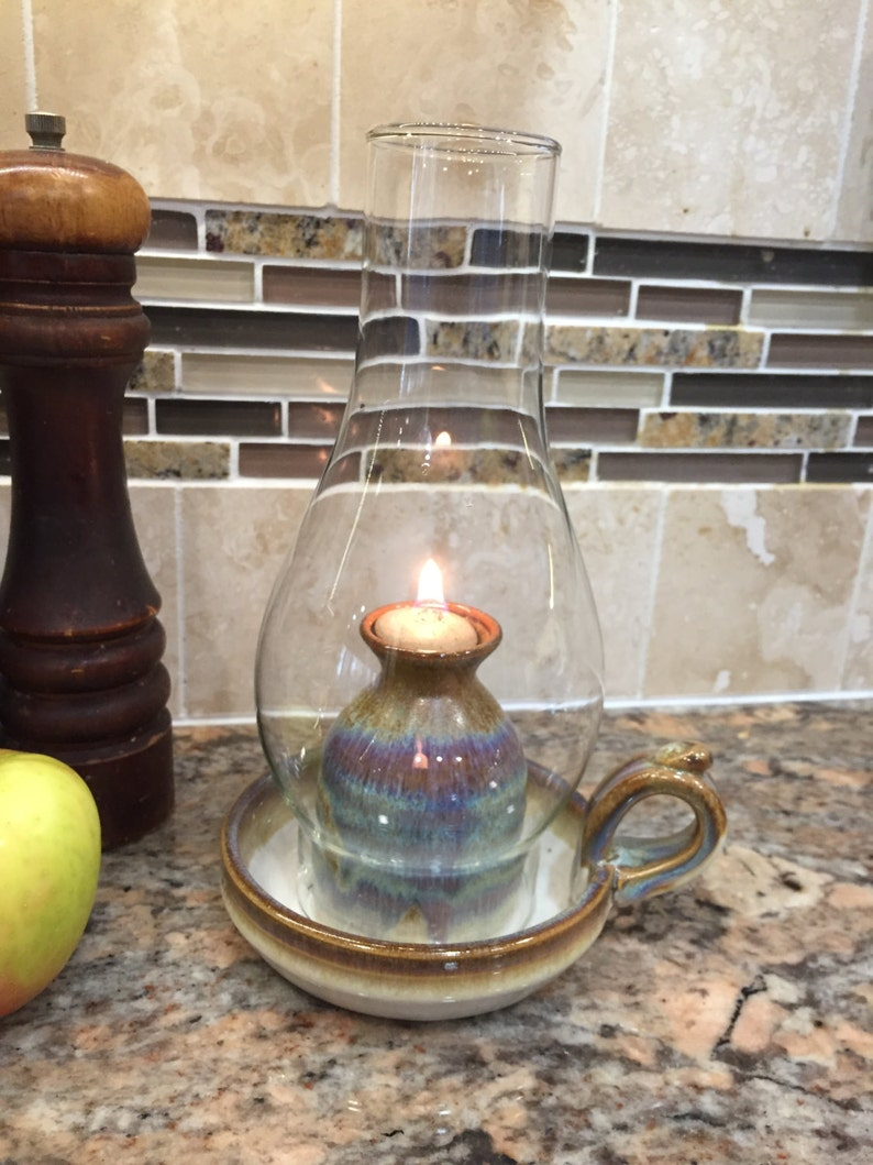 Pottery Oil Lamp in Brown Glaze with globe image 0