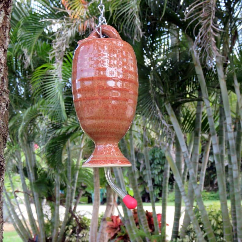 Stoneware Pottery Hummingbird Feeder in Copper Glaze image 0