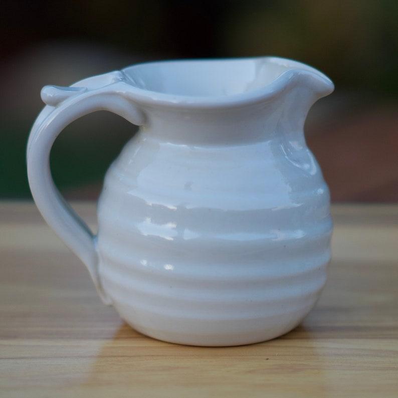 Pottery Creamer Small pitcher in White glaze image 0