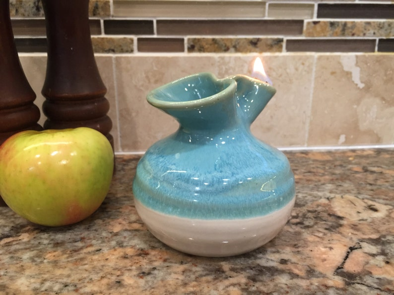 Pottery Oil Candle in Turquoise Glaze image 0