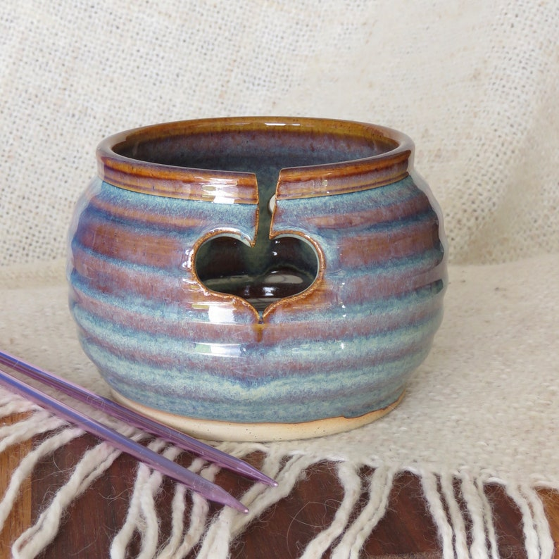 Pottery Yarn Bowl for Knitting in Opal Glaze image 0