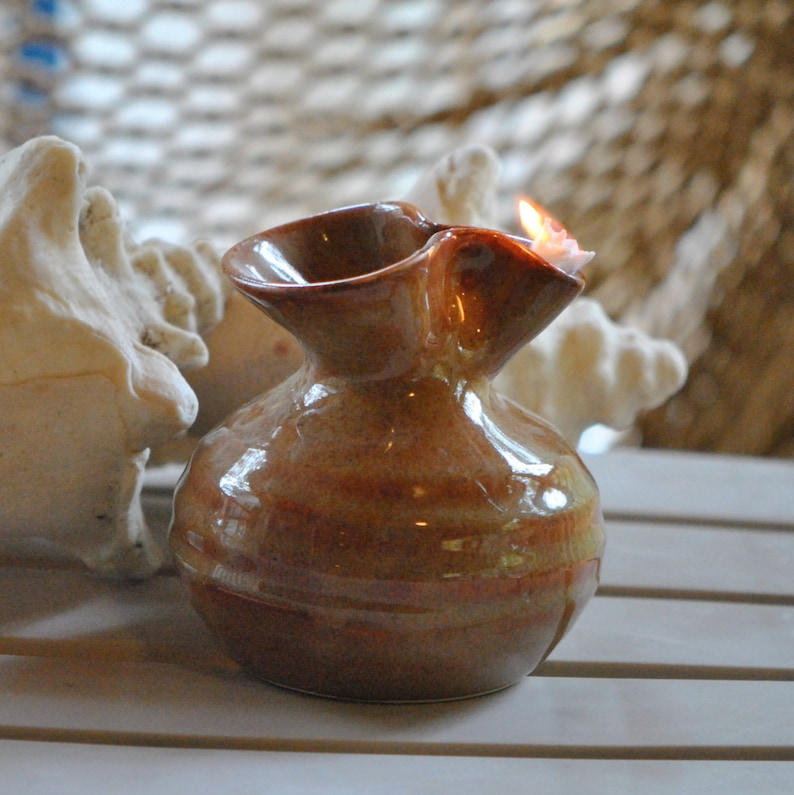Pottery Oil Candle in Copper image 0