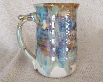 Pottery  Coffee Mug in Tri-Color Glaze  Stoneware 16 oz large**READY TO SHIP