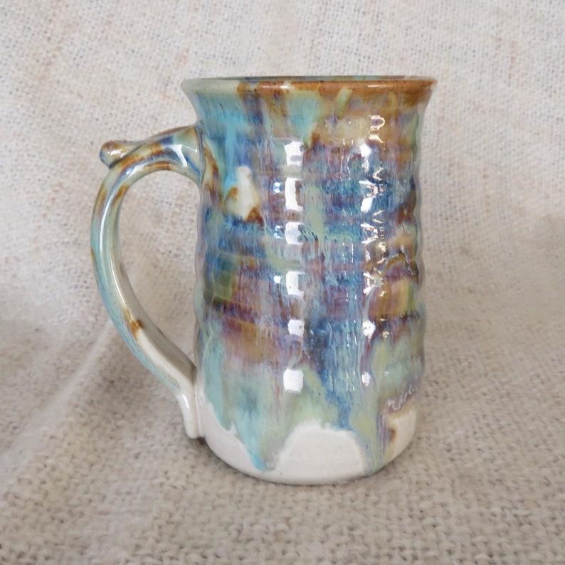 Pottery  Coffee Mug in Tri-Color Glaze  Stoneware 16 oz large image 0