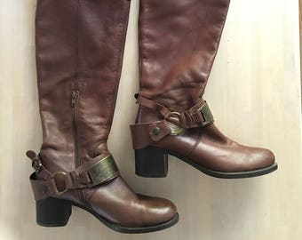 88c10431b Brown leather vintage women boots over the knee with straps and buckle.  Tall Western boots, Riding boots, Size: EU 38 // US 8-8.5