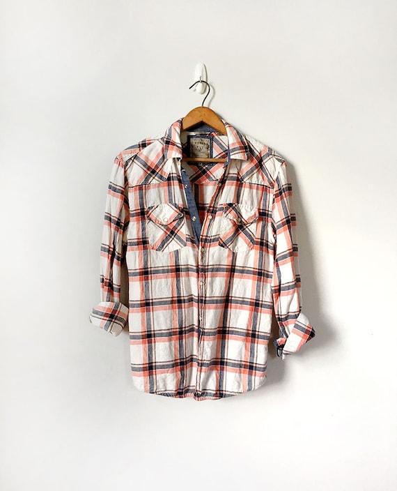 Unisex Plaid Linen Shirt, White, Orange and Blue S