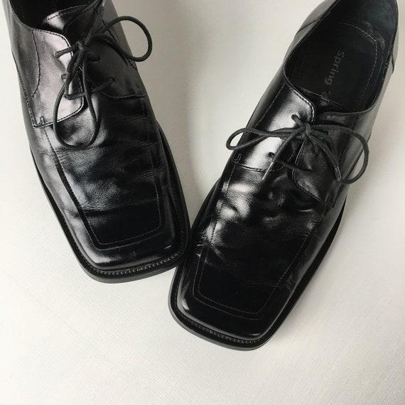 Men's Black Leather square-toe derby shoes - EU Si