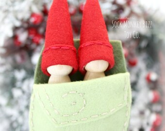 Wooden Peg Dolls, Red Berry Sister Pixie Fairy Dolls