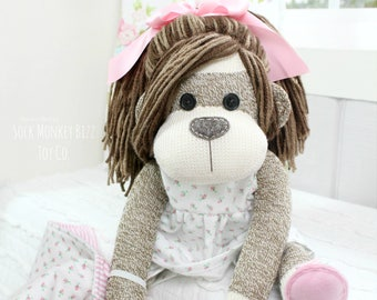 """18"""" Sock Monkey Doll with Tea Rose Flannel Pajamas and Blanket - Brunette"""