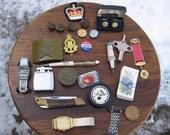 Junk Drawer Lot Military Items Lighter Pocket Knife Watch Pinbacks More A6