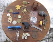 Junk Drawer Lot Pocket Knife, Military Badge Whistle Lighter Watch More A5