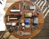 Junk Drawer Lot Gillette Razor, Estate Pipe, Watch Fob, Watch, Lighter, Pocket Knife, Padlock etc A10