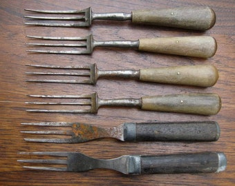 Civil War Era Flatware 6 Antique 3 Tine Forks Very Rusty with Wood Handles