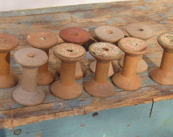 10 Wood Thread Spools Antique Bobbins Vintage