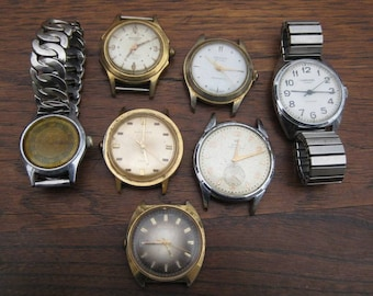 7 Vintage Mens Windup Wrist Watches for Parts Repair or Repurpose Wristwatches