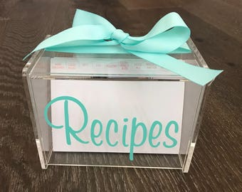 Personalized Recipe Box with 60 Blank cards & Dividers
