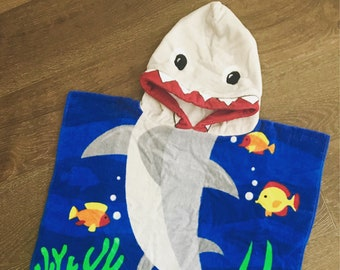 Shark Hooded Towel, Beach Hooded Towel, Shark Towel, Kids Bath Towel, Personalized Towel