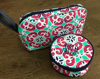 Monogram Travel Case SET - Monogram Jewelry Bag  - Jewelry Holder - Dopp Kit