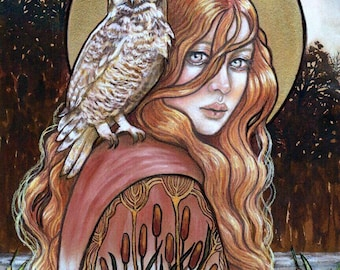 Witch Wife pagan goddess owl fine art print by Tammy Wampler