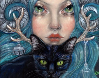 Thora and Uriel black cat horns blue haired Fine art pop surreal print