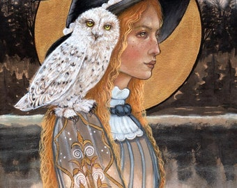 Sage and Willow witch snowy owl fine art print by Tammy Wampler