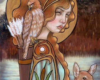 Artemis goddess hand embellished gold print