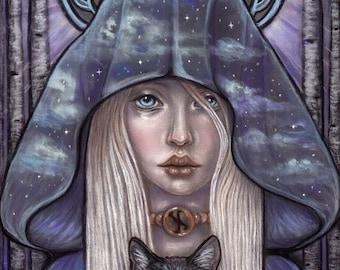 Nauthiz Rune Maiden Norse Pagan Fine Art print by Tammy Mae Moon