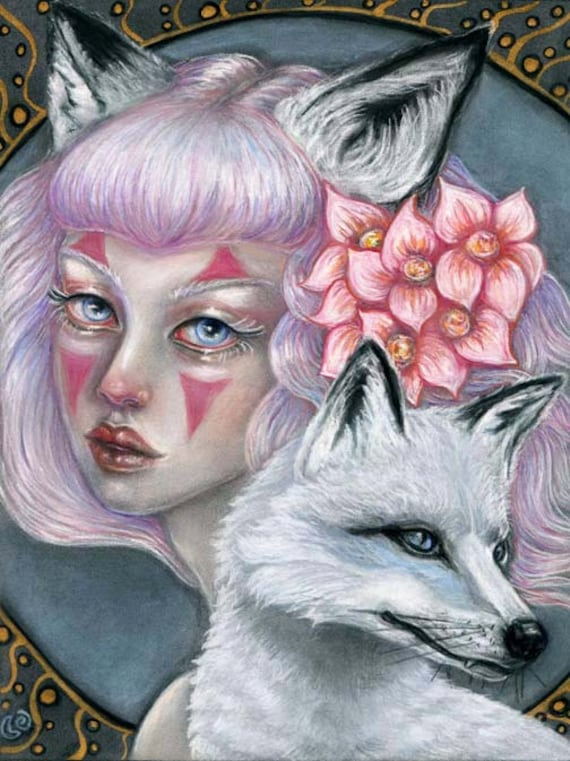 fox Asian mythology women kitsune