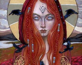 The Morrigan Hand Embellished gold print Celtic goddess by Tammy Wampler